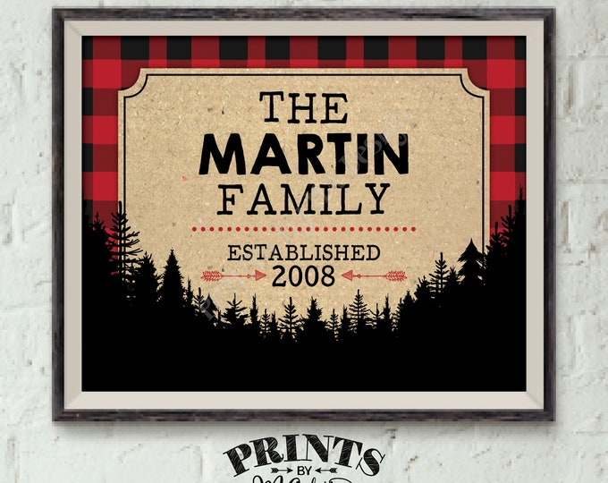 "Family Established Sign, Last Name Family Sign, Personalized Name Sign, Buffalo Plaid, Red Checker PRINTABLE 8x10"" Lumberjack Style Sign"