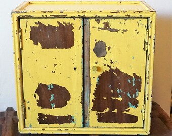 Yellow Turquoise Chippy Paint Cabinet Bathroom Bedroom Workshop