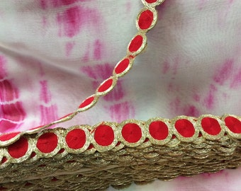 1 inch red & gold Sari Border/ Trim.Price Per Yard
