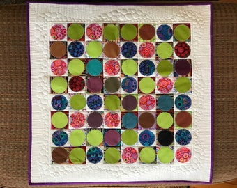 Circle and Squares: art quilt, fiber art, stitched art, mini quilt hanging, wall art, wall hanging