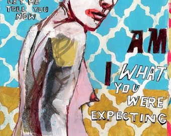 Expectations, original mixed media drawing by Juliana Coles