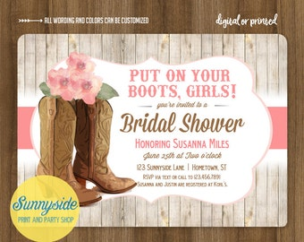 Cowgirl Boots Bridal Shower Invitation // Country Western Wedding Shower Invite // Printable or Printed // cowboy boots floral pink