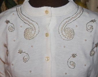 1950's Rhinestone Pearl Embellished Beaded Vintage Cardigan Sweater New Old Stock