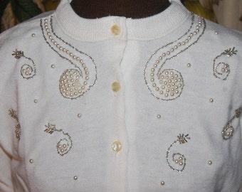 50er Jahre Perlen Strass Perle verziert Vintage Strickjacke Pullover ungetragen