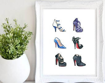 Christian Louboutin Heels Print, Shoe Decor, Fashion Illustration, Shoe Art, Watercolor Print, Fashion Print, Shoe Wall Art, She Decor, Shoe