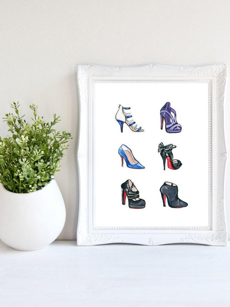 Christian Louboutin Heels Print Shoe Decor Fashion Illustration Shoe Art Watercolor Print Fashion Print Shoe Wall Art She Decor Shoe & Christian Louboutin Heels Print Shoe Decor Fashion Illustration ...