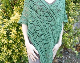knit lace poncho, lace leaf shawl, womens V-neck sweater, silk, merino cape, pullover, green bohemian cape, spring sweater, gift for her