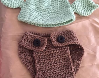 Crocheted Character Diaper Coverup and Hat