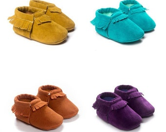 BABY MOCCASINS, baby shoes, fringed moccasins, girls moccasins, pink moccasins, black moccasins, tan moccasins, grey moccasins