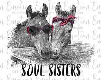 Soul sisters horses PNG, instant download, Sublimation Graphics, Clipart