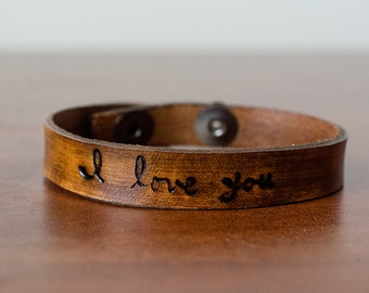 Skinny I Love You Leather Cuff with Adjustable Snap Closure