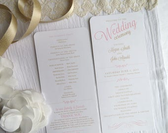 Wedding Program  | Ceremony program  | Wedding Programs- Style 25 Gold and Blush Collection