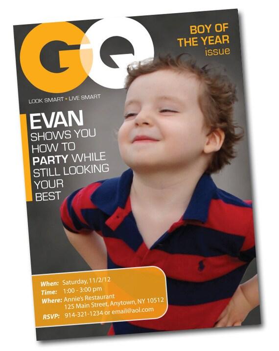 personalized fashion magazine cover birthday invitation gq