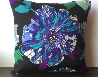 Double sided Black Pillow Cover with Blue, Purple floral print 18x18