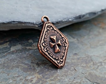 Copper Imperial Cross Charm Pendant N35,imperial cross charm,rustic copper cross,copper cross pendant,copper medallion,copper cross charm