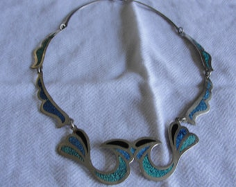 Vintage lovebirds mexican silver bib necklace