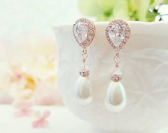 Rose Gold Wedding Earrings - Teardrop Pearl Earrings - Crystal Tear Drop Earrings - Rose Gold Cubic Zirconia Pearl Bridal Earrings E4407
