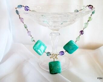Gemstone statement necklace, Amazonite, rainbow fluorite modern tribal gemstone necklace