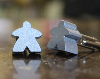 Meeples! Silver Colored Meeples Wooden Cufflinks Cuff Links