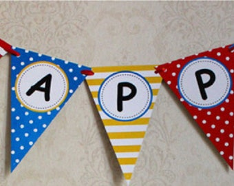 Garland banner for sweet table happy birthday