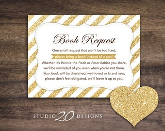 Instant Download Gold Glitter Book Request, Gold Glitter Book in Lieu of Card, Gold Glitter Baby Shower Book Instead of Card 55A