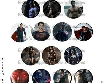 Justice League Batman V Superman Wonder Woman  1 inch Bottle Caps Digital Image Pendants Stickers Download  5.8 x 7.5