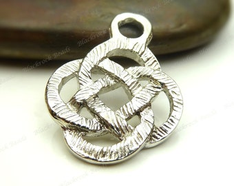 6 Celtic Knot Etched Pendants or Charms Silver Tone Metal - 24x18mm - Jewelry Making Supplies - BB19
