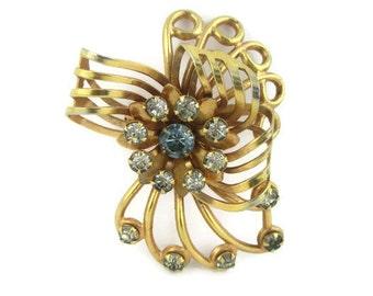 Retro Rhinestone  Flower Motif Gold Tone Pin
