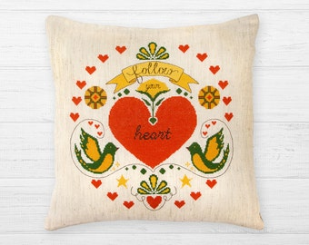 Heart cross stitch pattern Instant download PDF Follow your heart quote Motivational Inspirational Positive Modern Pillow Valentine's Love