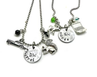 Supernatural Moose Squirrel Best Friend Necklace for 2, Friendship Necklace for 2, Dean and Sam Winchester Jewelry, SPNFamily