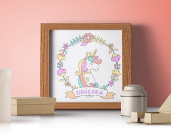 Unicorn Princess Poster - 210 x 210mm square