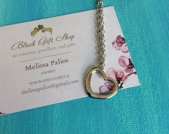 Floating Heart Silver Necklace