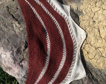Lace shawlette/ red and white wrap/ lace wrap