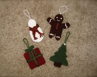 PATTERN- Crocheted Gingerbread Man, Snowman, Tree, and Present Christmas Tree Ornament Patterns