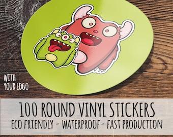 100 Custom Waterproof Stickers-,  Round Vinyl Stickers, Round Labels, Waterproof Labels, Product Labels,  custom stickers,  custom labels,