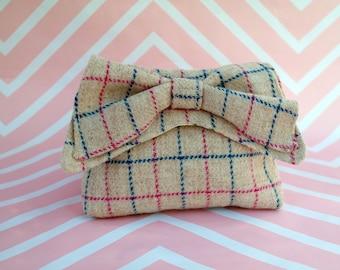 Audrey - Cream Windowpane Harris Tweed Clutch Bag - evening purse - bow - formal - handmade