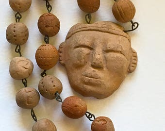 Primitive Terra-Cotta Figural Mexican Necklace Old Beads and Chain