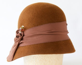 Cloche Hat Women's Hat Brown Hat Art Deco Hat 1930s Hat Downton Abbey Style Formal Dress Hat  Flapper Hat Spring Hat Gift For Her Fall Hat
