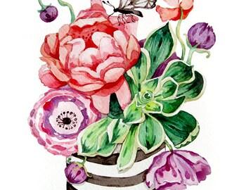 Succulent Watercolor Painting - Flowers - Print