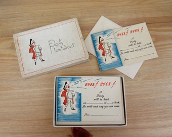 Art Deco Party Invitations Antique Ephemera 1930s Boxed Set of Four Note Books Notepad Stationery
