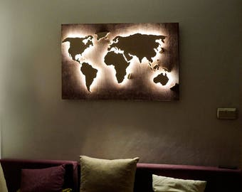 Wood world map etsy led wood world map abstract art world map hanging world map 3d wall decor world map gumiabroncs Image collections