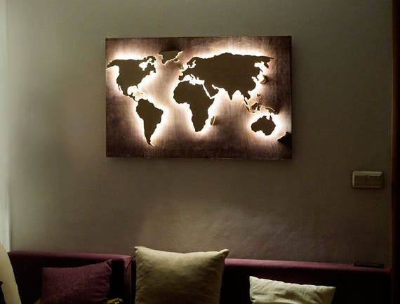 Led wood world map abstract art world map hanging world map 3d gumiabroncs Gallery