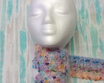 Knitted Rainbow Accent Scarf
