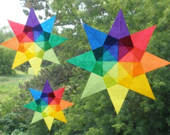 3 Sizes of Rainbow Window Stars