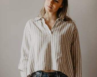 Oversized Crop Top, Oversized Shirt, Striped Linen Shirt, Plus Size Top, Linen Blouse, Linen tunic , Loose Plus Size, Cropped Shirt, Boho