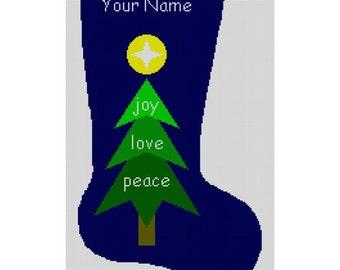 Personalized Needlepoint Christmas Stocking Canvas - Tree