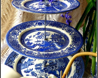 """Churchill's famous """"Blue Willow"""" pattern handmade three tier cake stand made of vintage large sized plates - impressive look bigger capacity"""