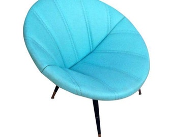 Mid Century Turquoise Clam Saucer Vinyl Chair