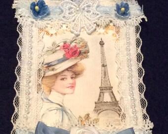 Paris Gift Tag, Vintage Tag, Bon Voyage Tag, Bridal Shower Tag, Lace Tag, OOAK