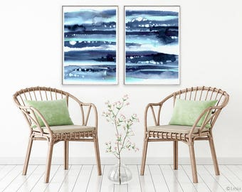Horizont, set of 2 prints, blue watercolor painting,  abstract blue art, modern painting, watercolor indigo artwork, minimalist art